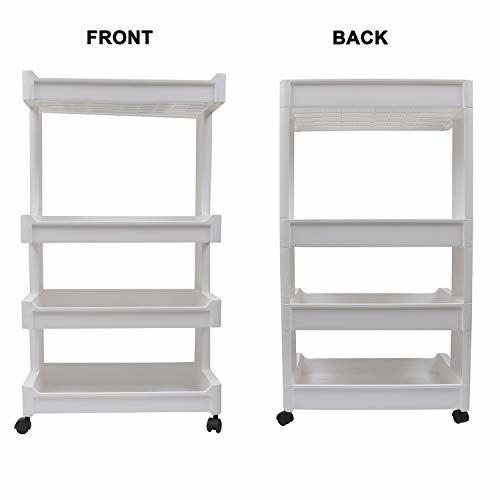 Livzing 4-Tier Space Saving Storage Rack Organizer Multipurpose Kitchen Bathroom Shelf with Wheels