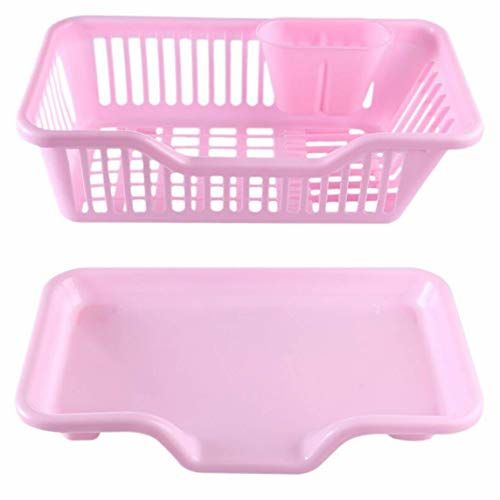 JRM's 3 in 1 Kitchen Sink Dish Drainer Drying Rack Washing Holder Plastic Basket Organizer with Tray and Utensil Cutlery Holder Cup (Grey)