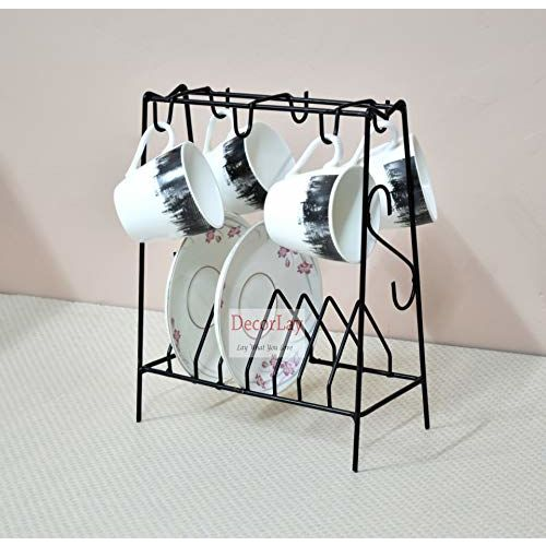 Decorlay Space Saving Wrought Iron Cup and Saucer Stand/Holder for 6 Cups, 6 Plates Dish Rack | Black