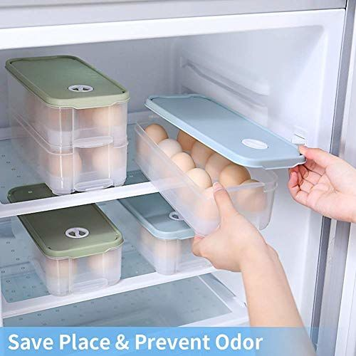 GETKO WITH DEVICE Refrigerator10 grids Egg Storage Plastic Container Tray, Transparent