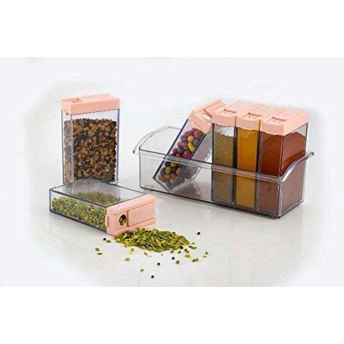 MTR Spice Jars Dispenser Masala Rack Easy Flow Storage Crystal Seasoning Box (10x17x7cm, Multicolour) - Set of 6