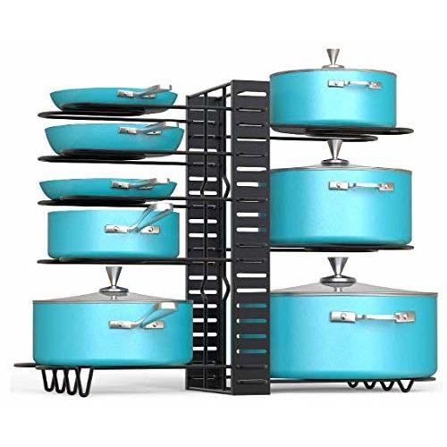 EverEx Adjustable Multipurpose pan and Pot tawa Rack Holder Stand Plate Dish lid Tray Utensils cookware Cupboard Cabinet Storage Shelf Shelves Organiser