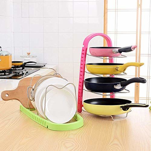 Jigva Adjustable Stainless Steel and Plastic Frying Pan and Tawa Storage Holder Organizer Rack for Home Kitchen(Multicolored)