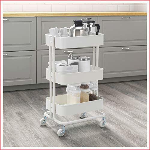 Ikea RASKOG Home Kitchen Bedroom Storage Utility Cart, (White)