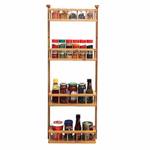 Livzing 4 Tier Adjustable Bamboo Storage Rack - Multipurpose Wooden Layer Kitchen Bathroom Organizer Shelves - Fridge Side Hanging Shelf