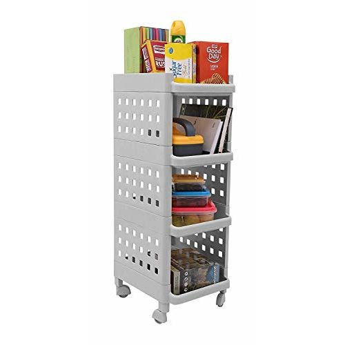 Kurtzy Vertical Rack 4 Layer Storage Organizer with Wheels for Kitchen - Grey