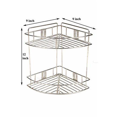 Gehwara Stainless Steel Corner Shelf Storage Rack 2 Tier Kitchen Shelves Corner Rack for Bathroom, 9 X 9 X 12 inch(Silver)