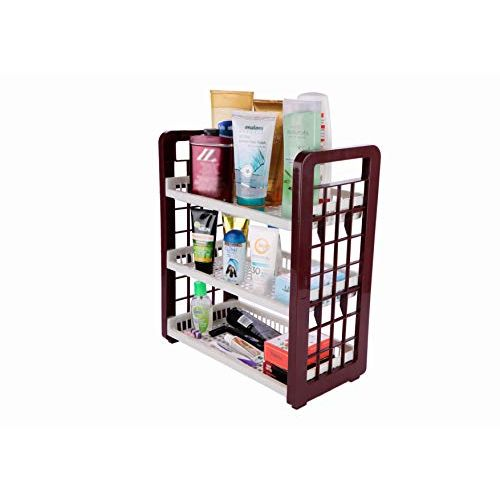 SAURA | 3-Layer Multipurpose Utility Racks| Kitchen Storage | Easy Assembled | Portable | Light Weight | Easy Movement | Storage Multi Things | (261090-3 Tier Rack-Brown)