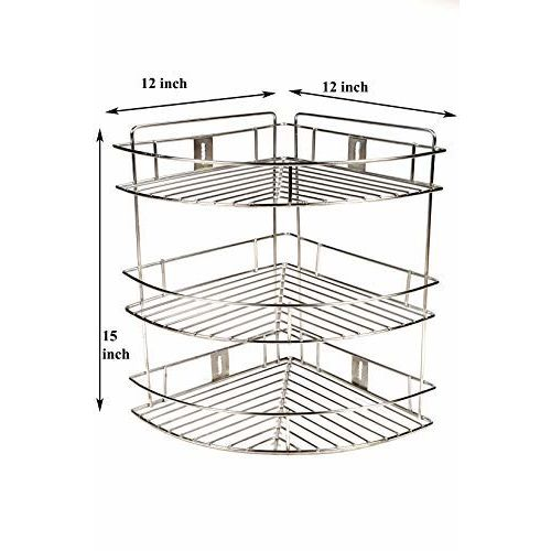 Gehwara Stainless Steel 3 Tier Kitchen Shelves Corner-Rack, 12x12x16.5-inch