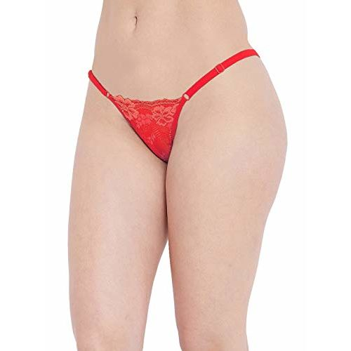 N-Gal Lace Women's Adjustable Waist Band G-String Thong Panty_Red_XL,