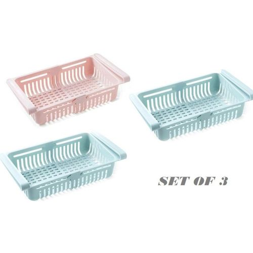 Vittamix Fridge Organizer Drawer - 3 pcs Adjustable Fridge Storage Basket, Fridge Racks Tray Sliding Storage Racks Fruits/Vegetables Kitchen Rack(Plastic)
