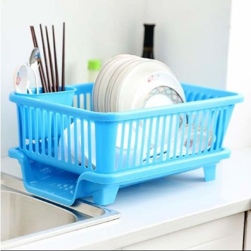 Bluewhale 3 in 1 Large Sink Set Dish Rack Drainer with Tray for Kitchen, Dish Rack Dish Drainer Kitchen Rack(Plastic)