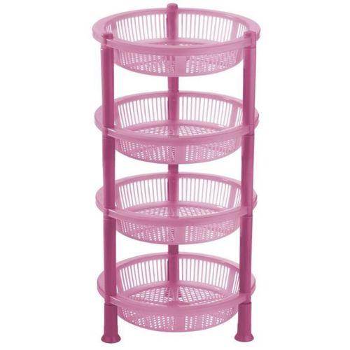 FABLE Premium Plastic 4 Steps Kitchen Rack Basket for Office Use, Fruits Onion, Potato, Vegetables and Sabji Basket Tray for Household Fruits/Vegetables Kitchen