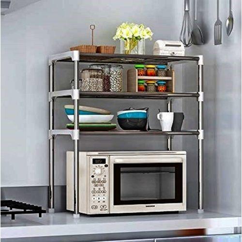 DUTCH TREAT Space Saving Kitchen 3 Shelf Rack Utensil Kitchen Rack(Carbon Steel, Plastic)