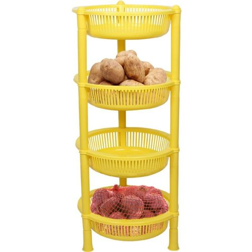 Meded 4 Shelf Multipurpose Vegetable Fruit Plastic Basket/Trolly for Home Plastic Kitchen Trolley