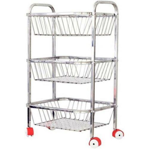 Arisers Thing Stainless Steel Fruit & Vegetable Basket (Steel) Steel Kitchen Trolley