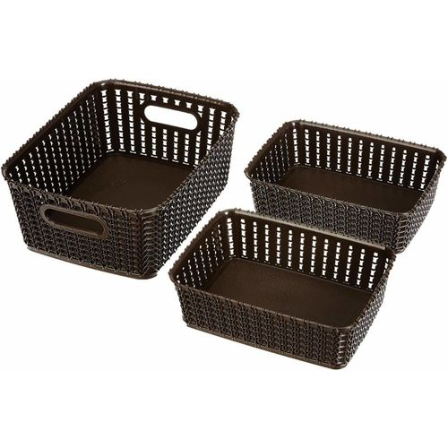 Cutting EDGE Storage Basket, Organizer | Woven Design | Sturdy and Break-Resistant Plastic | For Toiletries, Beauty Products, School Supplies, Fruits | (2 x A6