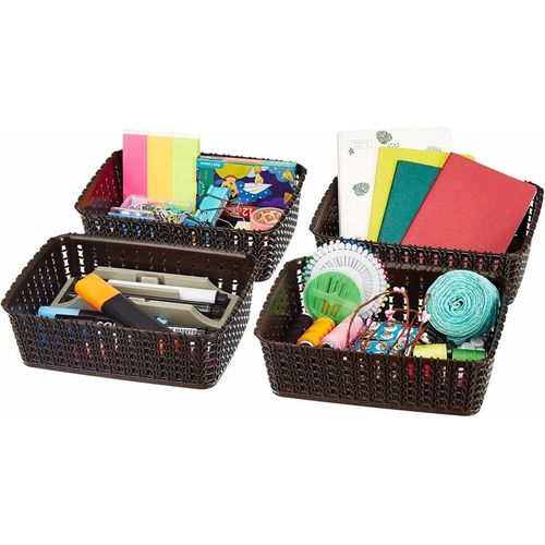 Cutting EDGE Storage Basket, Organizer | Woven Design | Sturdy and Break-Resistant Plastic | For Toiletries, Beauty Products, School Supplies, Fruits | (4 x A6