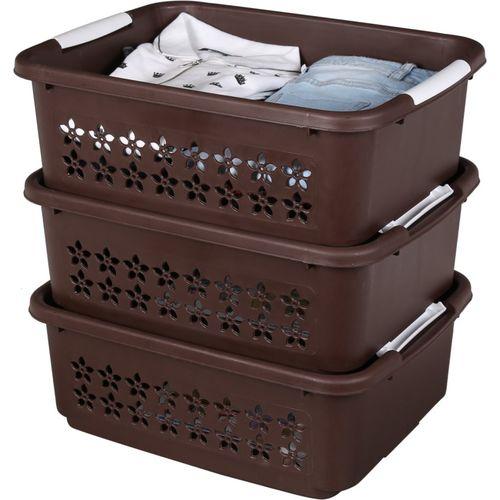 Sukhson India Finland_Stackable_Bkt_Brn_M_3Set Storage Basket(Pack of 3)