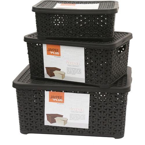 Jaypee Plus Keep All Big, Small & Mini,Black Storage Basket(Pack of 3)