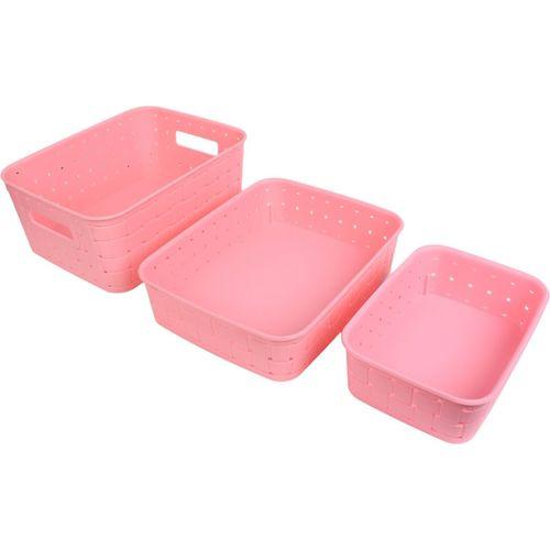 Bluewhale New Multipurpose smart Basket set of 3 Pink Storage Basket(Pack of 3)