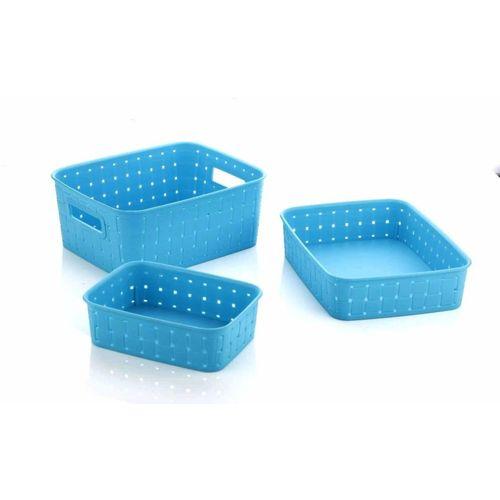 Bluewhale New Multipurpose smart Basket set of 3 Blue Storage Basket(Pack of 3)