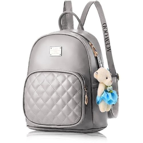 ACEWOOD Grey PU Leather Backpack