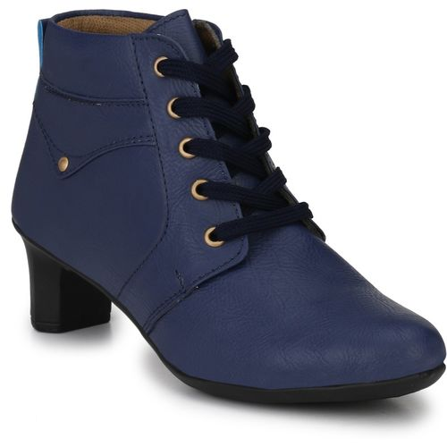 Neso Shearling Party Wear Boots For Women(Blue)