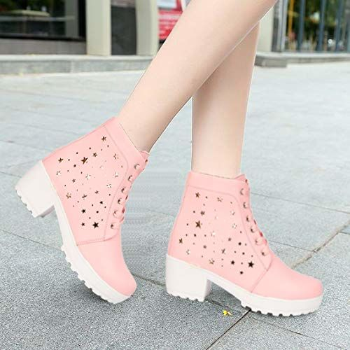 ZOVIM Pink Casual High Heels Lace Up Boots