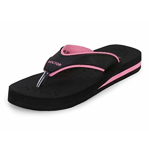Doctor Extra Soft Black Rubber Soft And Light Weight Dr. Ortho Slippers