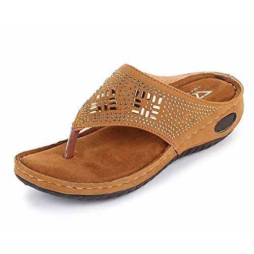 TRASE Erica-I Tan Soft Comfortable Fancy Slipper