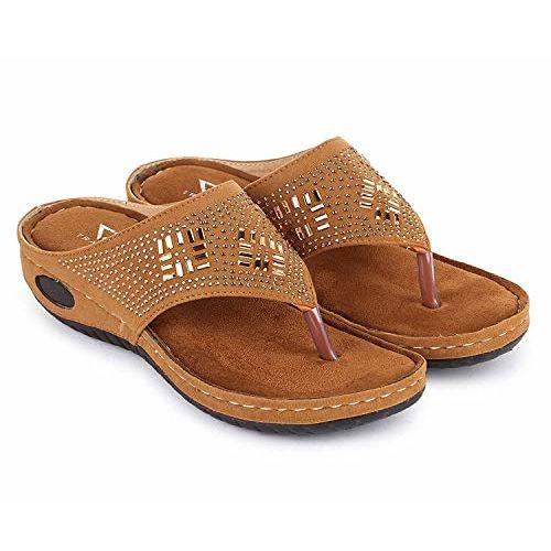 TRASE Erica-I Tan Soft Comfortable Fancy Slipper