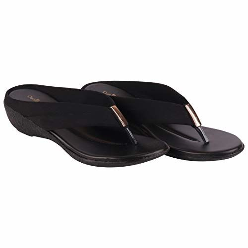 BATA Black Slip On Casual Wedge Slippers 671-6059-37