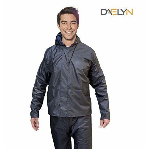DAELYN Men's Heavy duty Waterproof Windproof Raincoat with Tapping Inside Pant (Black, Free Size)