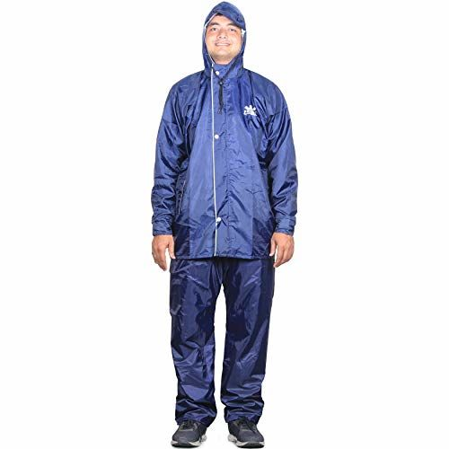 THE CLOWNFISH Sky One Prime Series Reversible Use Men's Polyester Double Layer Waterproof Raincoat with Hood and Reflector Logo at Back for Night Travelling.