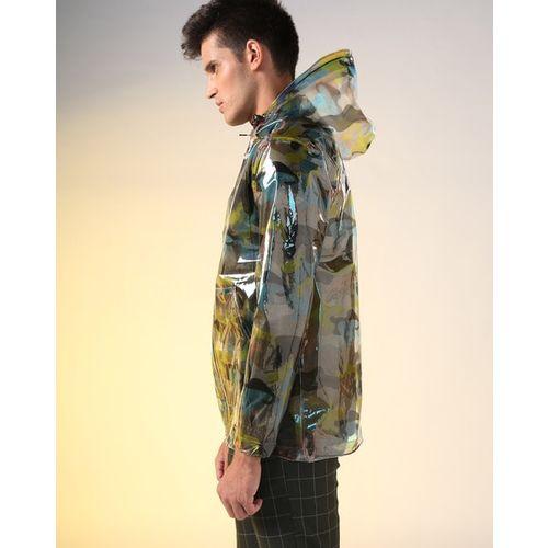 AJIO Translucent Camouflage Print Hooded Zip-Front Raincoat