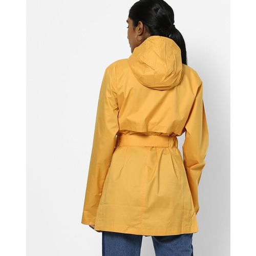 Columbia Hooded Raincoat with Waist Tie-Up