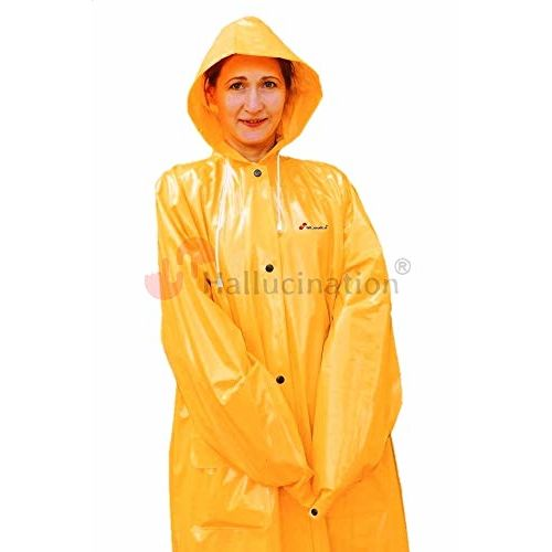 HALLUCINATION Raincoat for kids boys girls unisex yellow very soft high quality PVC school or outdoor (5-6 Years (33))