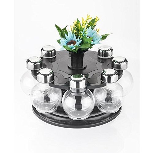 ATMAN 360 Degree Revolving Round Shape Transparent Spice Rack/Container (Pack of 8 Jar)