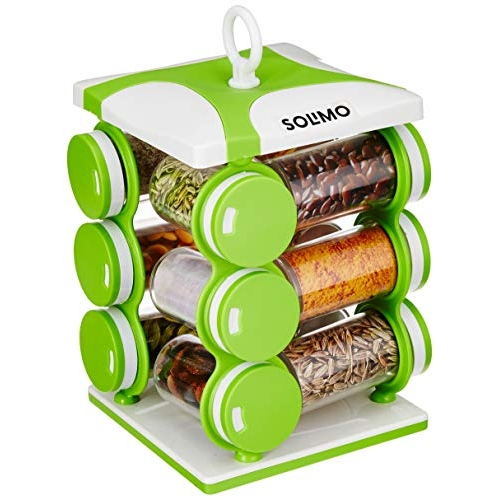 Amazon Brand - Solimo Revolving Spice Rack set (12 pieces)