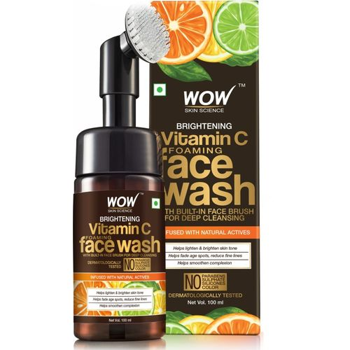 WOW Skin Science Brightening Vitamin C Foaming Face Wash with Built-In Face Brush for deep cleansing - No Parabens, Sulphate, Silicones & Color - 100 ml Face Wash(100 ml)