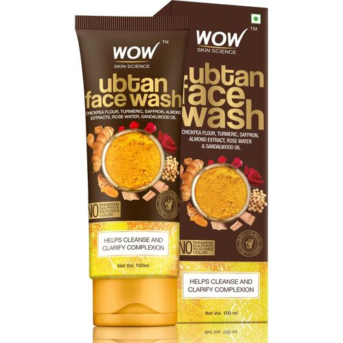 WOW Skin Science Ubtan Face Wash with Chickpea Flour, Turmeric, Saffron, Almond Extract, Rose Water & Sandalwood Oil - No Sulphate, Parabens, Silicones & Color