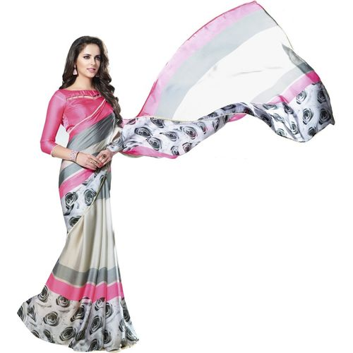 Shaily Retails Self Design, Floral Print Fashion Satin Blend, Poly Georgette Saree(Cream)