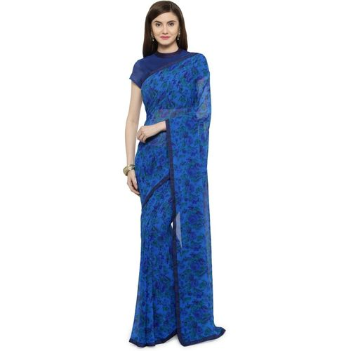 Shaily Retails Printed Fashion Poly Georgette Saree(Blue)