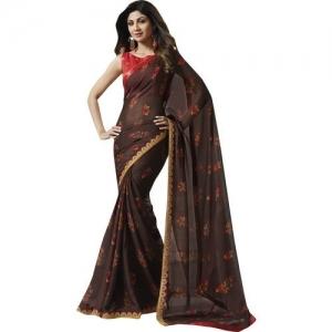 Shaily Retails Floral Print Fashion Chiffon Saree(Brown)