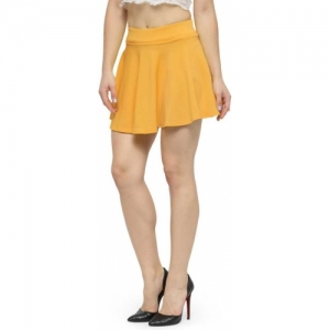 N-Gal  Yellow Solid Women Flared  Skirt