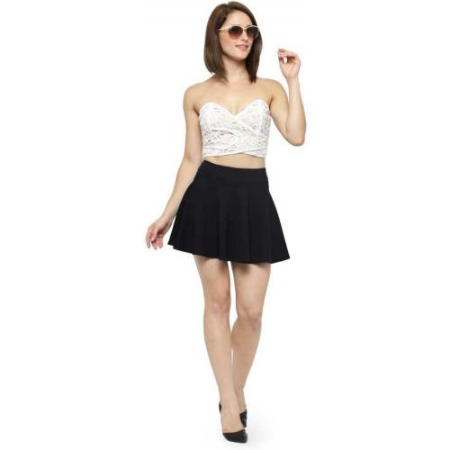 N-Gal Black,Pink Solid Women Flare Skirt