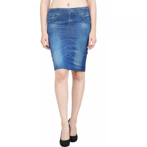 Aiyra Denim Blue Printed Women Straight  Skirt