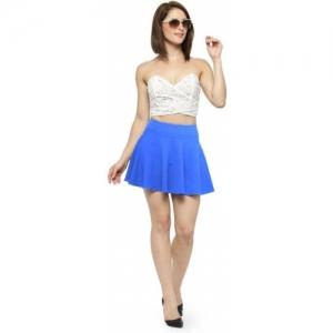 N-Gal Blue bSolid Women Flared Light Skirt