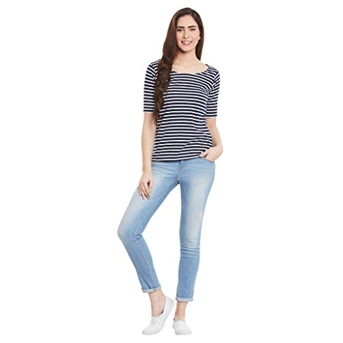 Miss Chase Black Striped Regular Fit Top